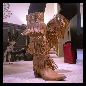 Old Gringo leather boot with fringe and gold 9